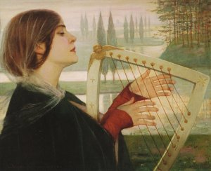 Antoon Van Welie (Dutch artist, 1866-1956)  Holy Cecilia With Lyre